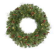 30 Cambridge PVC Wreath w/Clear Mini Lights byVickerman - H281945