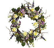 24 Hydrangea Rose Wreath by Nearly Natural - H179246