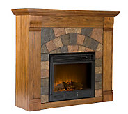 Bennett Antiqued Oak-Finish Electric Fireplace - H185746