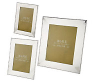 Home Reflections Set of 3 Beaded Silver-Colored Photo Frames - H195646