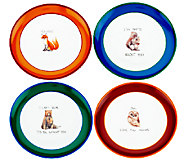 ED On Air S/4 Animal Pun 8 Dessert Plates by Ellen DeGeneres - H204146