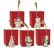 Lenox Set of 5 Porcelain Ornaments with 24K Gold Accents & Boxes - H205246