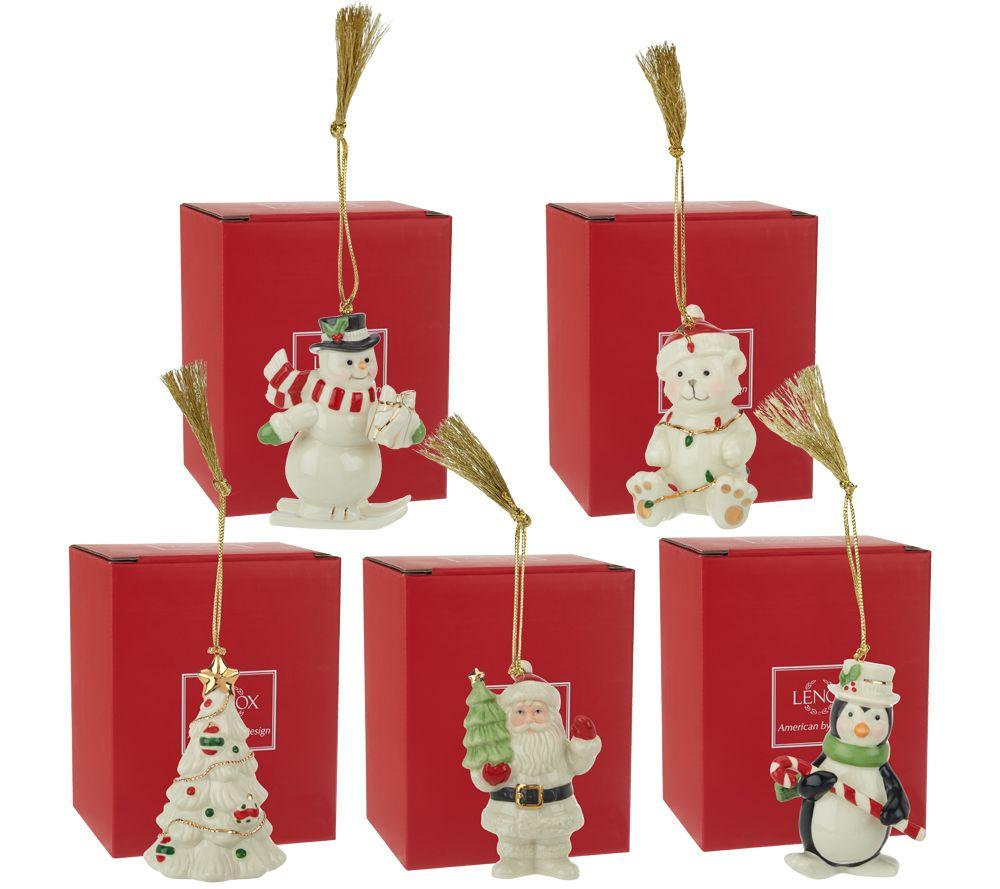 Lenox Set of 5 Porcelain Ornaments with 24K Gold Accents  Boxes