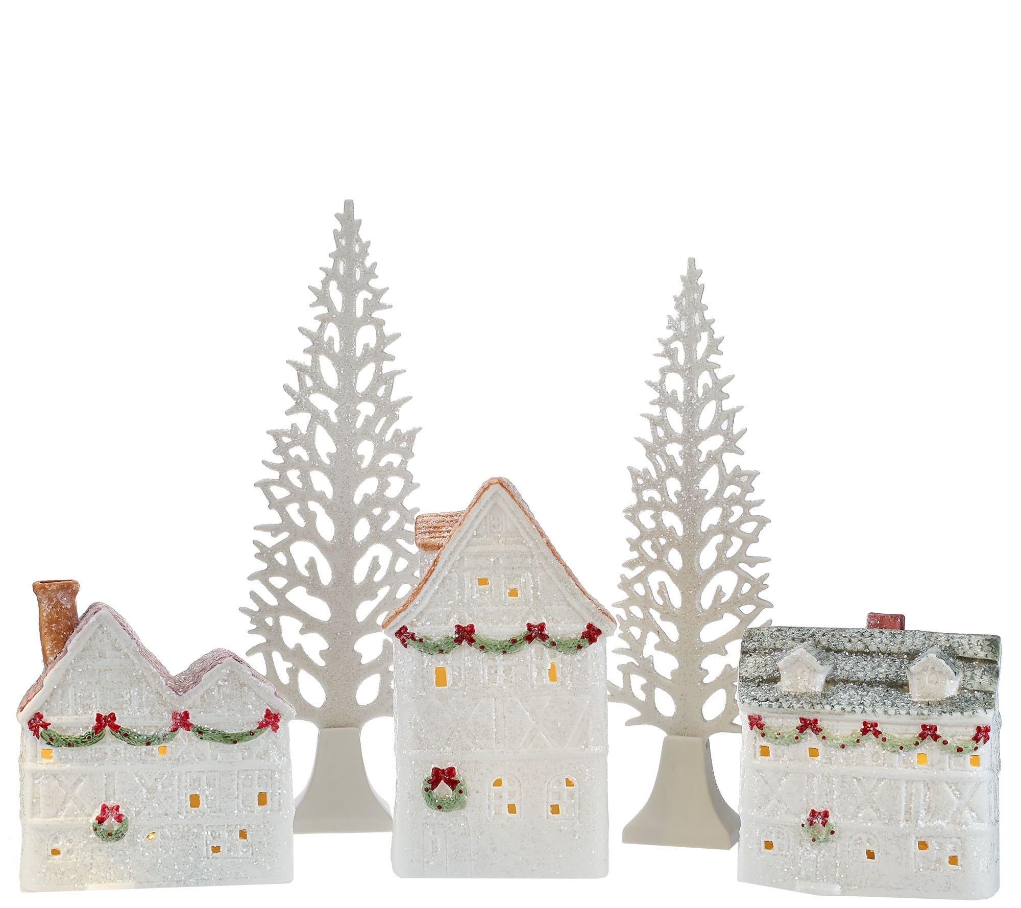 5-piece Illuminated Glittered Ceramic Village By Valerie