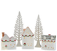 5-piece Illuminated Glittered Ceramic Village by Valerie - H206646