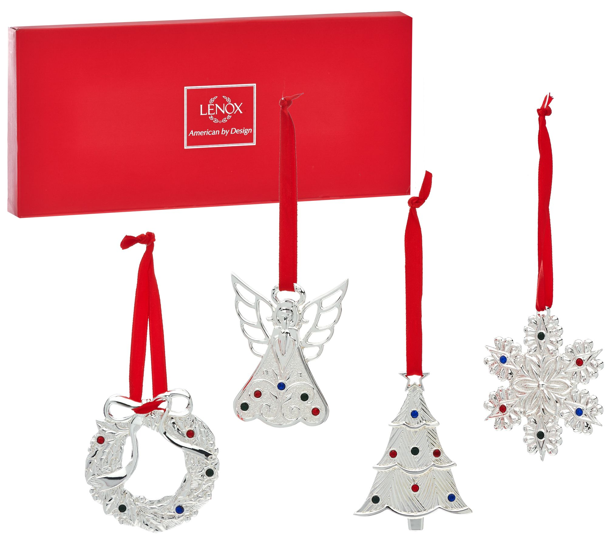 Glass christmas tree with ornaments miniature - Lenox S 4 Silver Plated Mini Holiday Ornaments With Gift Box H206746