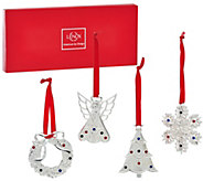 Lenox S/4 Silver-Plated Mini Holiday Ornaments with Gift Box - H206746