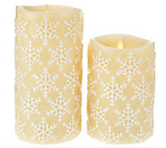 Luminara 5 and 7 Snowflake Embossed Flameless Candles - H208846