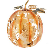 Etched Metal Pumpkin with Flameless Candle by Home Reflections - H208946