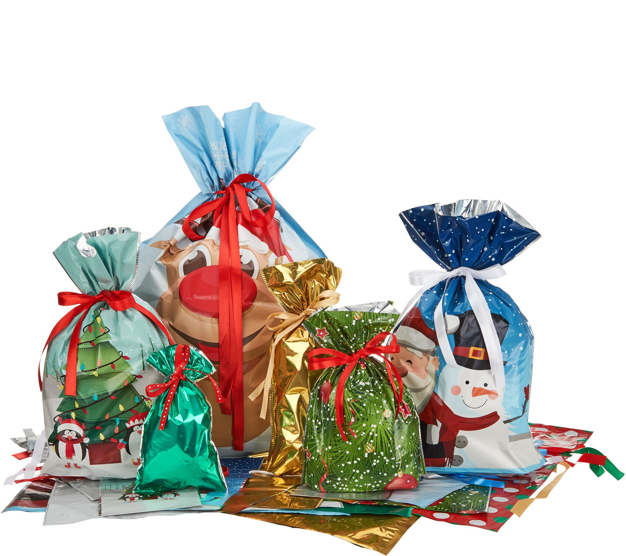 Gift wrap holiday for the home qvc kringle express 60pc easy drawstring gift bags tags h213046 negle Images