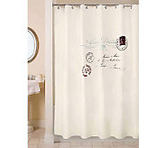 Vintage House Postale Natural/Black Shower Curtain - H356746