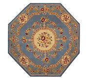 Royal Palace Floral Savonnerie 6 x 6 Octagon HandmadeWoolRug - H165747