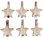 Dennis Basso Faux Fur Trimmed Wooden Ornament Clips - H202847