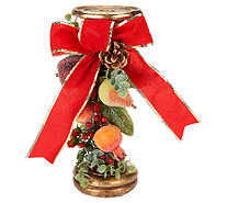 Beaded Fruit Candlestick with Berries, Pine, and Eucalyptus - H203547