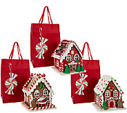 Set of 3 Mini Lit Gingerbread Houses with Gift Bags by Valerie - H206047