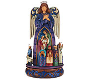 Jim Shore Heartwood Creek 9 1/2 Angel w/ Rotating Nativity Scene - H206447
