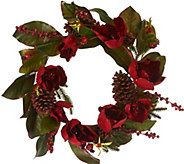 18 Glittered Magnolia, Pinecone, & Berry Wreath - H206647