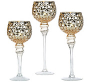 Set of 3 Illuminated Honeycomb Footed Goblets by Valerie - H207447