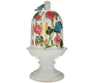 Pierced Ceramic Birdcage with Flameless Candle by Valerie - H207647
