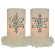 As Is Dennis Basso Set of 2 Snowflake Flameless Candles w/Fur - H210347