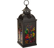 15 Illuminated Mosaic Glass Cathedral Metal Lantern by Valerie - H212447