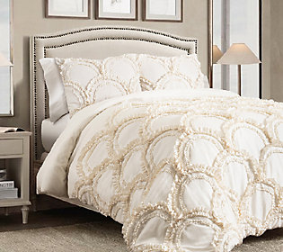 Chic 3-Piece Ivory King Comforter Set by Lush Decor