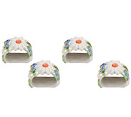 Temp-tations Figural Floral Set of 4 Napkin Rings - H288747