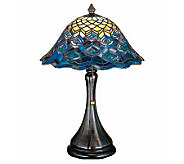 Tiffany Style Peacock Feather Accent Lamp - H112348