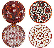 ED On Air Set of 4 8 Pattern Dessert Plates by Ellen DeGeneres - H204148