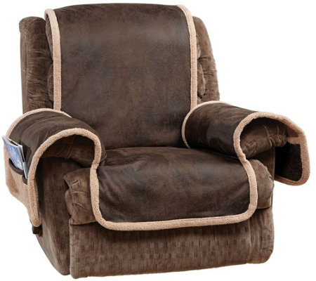 Sure Fit Reversible Faux Leather/ Sherpa Recliner ...
