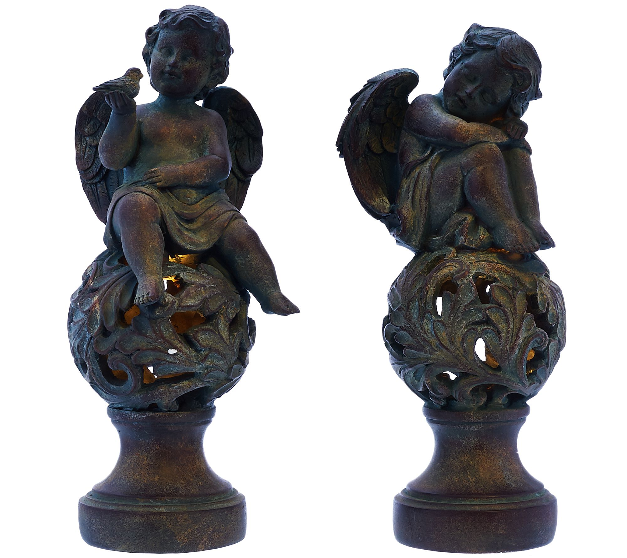 Set of 2 Cherubs on Illuminated Spheres by Valerie