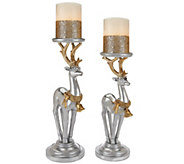 S/2  Reindeer Pedestals with Flameless Candles by Home Reflections - H208848