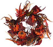 Plow and Hearth Illuminated 24 Fall Wreath with Timer - H208948