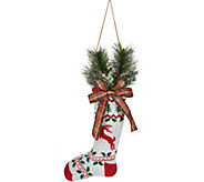 Plow & Hearth 16 Vintage Stocking with Lit Holiday Greens - H213048