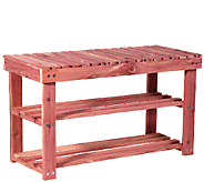 Household Essentials Cedar Shoe Rack with Bench - H285148