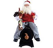 18 Santa Sitting on Wine Barrel by Santas Workshop - H289548