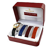 Peugeot Womens Goldtone Watch Gift Set with Leather Straps - H157549