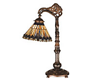 Tiffany-Style Jeweled Peacock Bridge Arm Desk Lamp - H159749