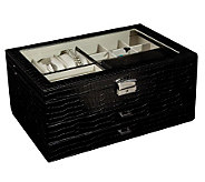 Mele & Co. Alana Glass Top Jewelry Box in Black Faux Croco - H188149