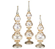 As Is Set of 3 Illuminated Frosted Finials by Valerie - H207249