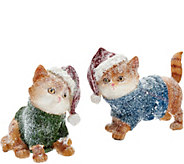 As Is Set of 2 Kittens or Puppies with Santa Hat by Valerie - H208149