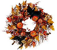 19 Wreath with Leaves, Pumpkins and Crows - H208849