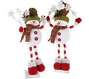 Set of 2 Festive Snowmen Holding Snowflakes by Valerie - H212449