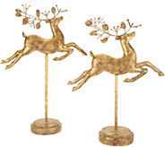 Set of 2 Graduated Regal Deer on Stands by Valerie - H212549