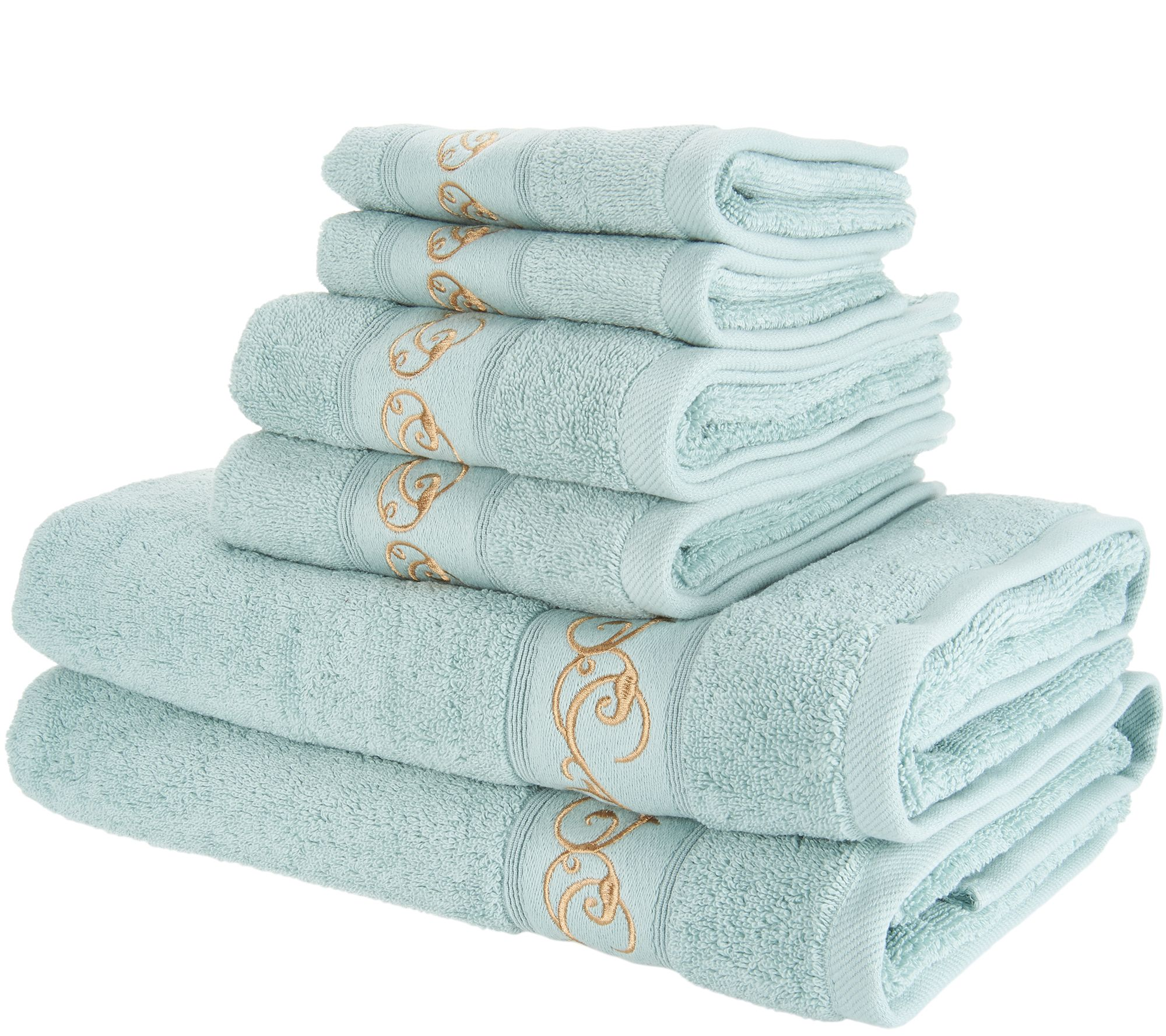 Casa Zeta Jones 6 Piece 100% Cotton Embroidered Towel Set   Page 1 U2014 QVC.com