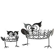 Plow & Hearth Set of 2 Owl Pumpkin Holders - H287749