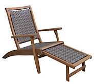 Outdoor Interiors Eucalyptus & Wicker Lounger with Ottoman - H297149