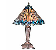 Tiffany Style Jeweled Peacock Accent Lamp - H112350
