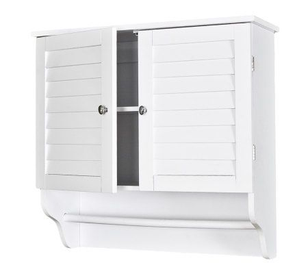 louvered white bathroom towel wall cabinet page 1