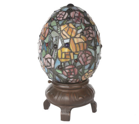 Handcrafted Tiffany Style 8 3 4 Quot L E Egg Shaped Accent